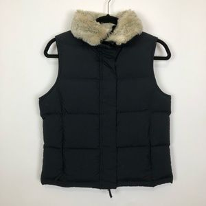 LL BEAN XSP BLACK DETACHABLE FAUX FUR VEST PUFFER